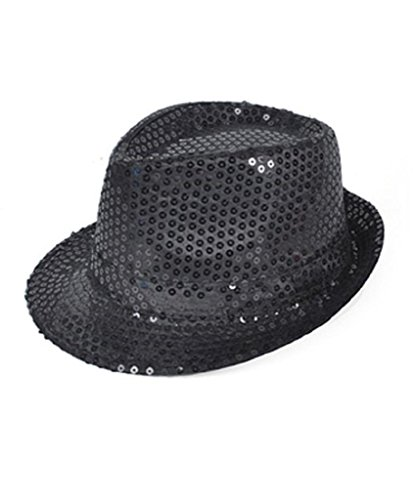 (Buckletown Sequined Fedora Hat (black))
