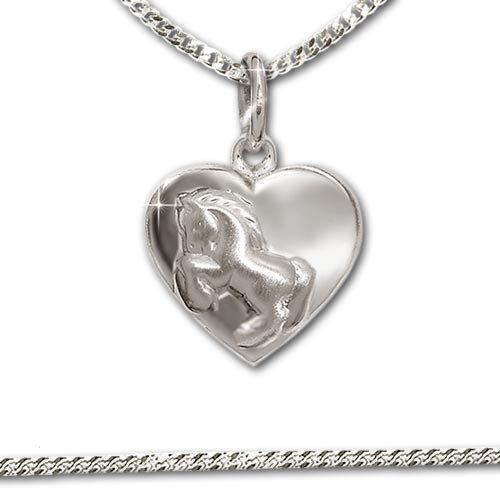 CLEVER sCHMUCK pendentif petit cheval sur springend bauchigem en forme de cœur et chaîne maille gourmette de 38 cm en véritable argent 925 pour enfants