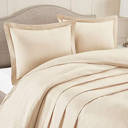 (Nestl Bedding Duvet Cover 3 Piece Set - Ultra Soft Double Brushed Microfiber Bedding - Damask Dobby Stripe Comforter Cover and 2 Pillow Shams - Full/Queen 90
