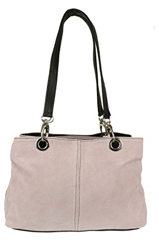 Top NEW Womens Shoulder Multi Leather Pockets Italian Twin Pink Suede Bag Small Zip Light trtUxqdHw