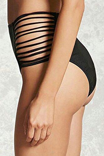 Halter escote en v traje de baño traje de baño Bikini de las mujeres conjunto Black