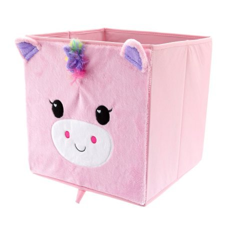 Collapsible Animal Print Storage Bin, Pink Unicorn   2 Pack