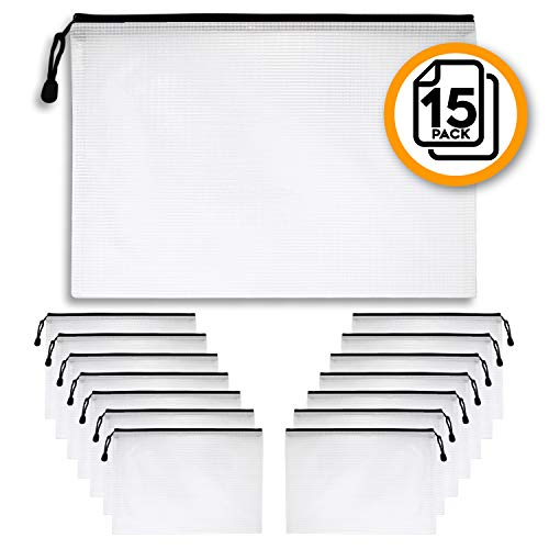 A4 Document Holder with Zipper (15 Pack) – Large Stylish Multipurpose Organizer Pouches for School Supplies, Business Papers, Files and More - Clear Mesh Weatherproof Protection Storage ()