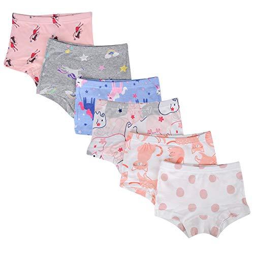 Bossail Kids Soft Cotton Toddler Underwear 6-Pack Little Girls