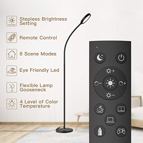 dodocool Floor Lamp, Remote & Touch Control Floor Lamp and 4 Color Adjustable Standing Lamp with Stepless Touch Dimmer, 2500K-6000K Flexible Standing Light for Living Room, Bedroom, Office, Reading