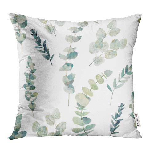 Emvency Throw Pillow Covers Decorative Green Leaf Watercolor Eucalyptus Branches Hand Floral with Plant Objects on White Natural Greenery Twig 18x18 Inch Cushion Pillowcase Sofa Square Print