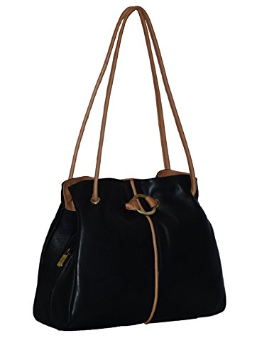 Navy Black Gigi Ladies Black Bag Ring Leather Detail Shoulder 6T6FqBgw