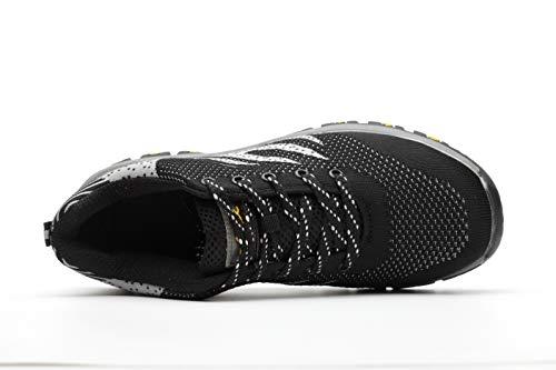 antinfortunistiche con di Sicurezza Comodissime Punta Scarpe Industria Traspiranti Acciaio cantiere S3 Scarpe Nero Calzature Lavoro Stival Donna Sneaker per Aizeroth da Uomo Edilizia UK in da escursionismo B7wBWx1