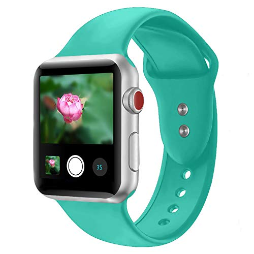 Booyi Sport Band for Apple Watch 38mm 42mm 40mm 44mm, Soft Silicone Replacement Bands for iWatch Apple Watch Series 4,Series 3,Series 2,Series 1 Nike+,Sport,Edition - S/M M/L