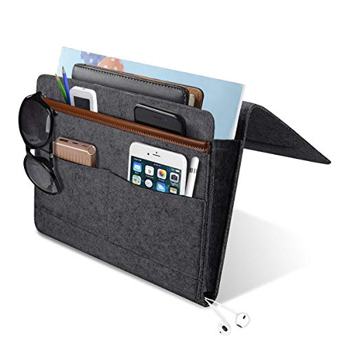 YUEMI Upgraded Bedside Caddy Pocket, Home Sofa Bedside Desk Felt Hanging Organizer Bag Holder with 5 Small Pockets for Organizing Books/Phone/Chargers/Tablet and More Gadget(Dark Grey) …