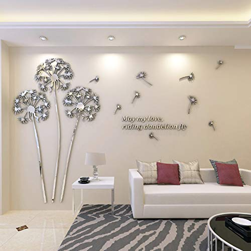 YINASI 3D DIY Dandelion Shape Acrylic Wall Sticker, Modern Stickers Decoration Living Room Removable Mural Wallpaper Art Decals Home Decor(Silver)