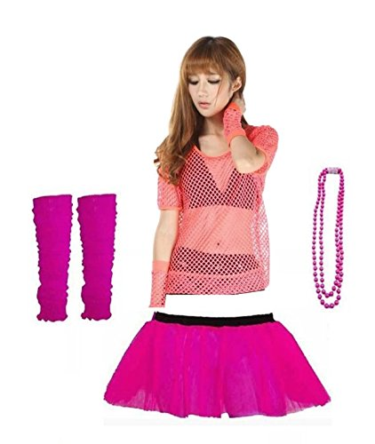 Rush Dance 80s Fancy Costume Set - Tutu, TOP, Leg Warmer, Fishnet Gloves & Beads (One Size, Pink)