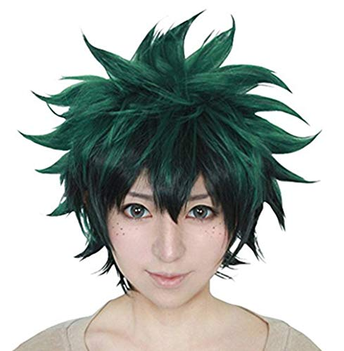 Hero Factory Halloween Costumes (Anogol Hair Cap+Green Short Wavy Cosplay Wig Anime Costume For Boy's Synthetic Hair)