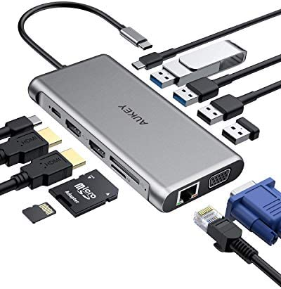 AUKEY USB C Hub 12-in-1 Type C Adapter with Ethernet, 4K HDMI,VGA,2 USB 3.0,2 USB 2.0,100W PD,USB-C Data Port and SD/TF Docking Station for MacBookPro/Air(Thunderbolt 3) and Other USB-C Laptops