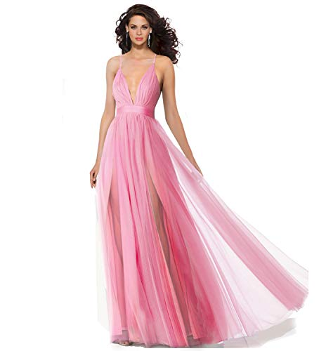 - Alluring deep v-Neckline Spaghetti Straps Criss-Cross Open Back Tulle Dual Front Slits Evening Prom Formal Dress (Pink, 10)
