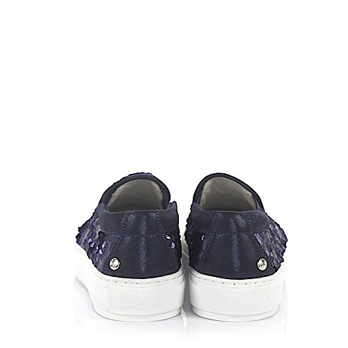 Agl Attilio Giusti Leombruni Sneaker Slip On Leather Blau Finito Paillettes Blau