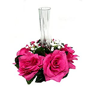 "3"" Rose Candle Ring Silk Wedding Flowers Home Party Holiday Decor (Fuchsia) 78"
