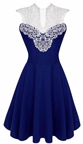 Swing Blue Jaycargogo Women's Lace Dress Floral Vintage Bridesmaid Sleeveless Tr8rXwq