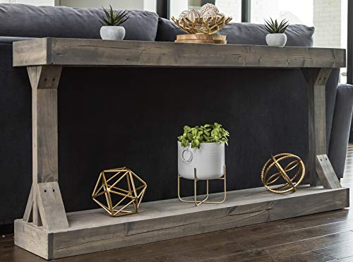 Barb Large Console Table Solid Wood by Del Hutson Designs (Grey)