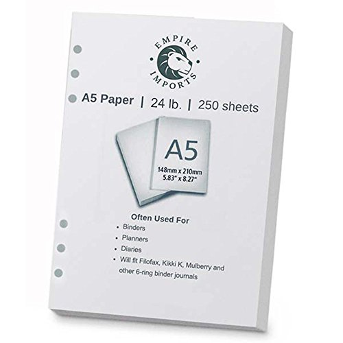 Empire Imports A5 Size 6-Hole Punched Paper, Ream, 250 Sheets, White (A56HR) (Paper Punched)
