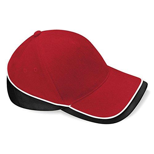 Beechfield - Gorra/Visera Unisex deportiva Modelo Competition - Verano/Piscina - 100% algodón. Rojo/Negro
