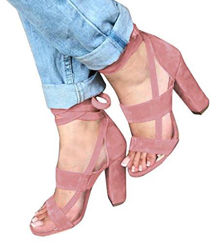 Minetom Sandalen Damen Riemchen Sandaletten High Heels Party Blockabsatz Shoes Elegante Abendschuhe Übergröße Mode Casual Schuhe Sommer A Pink