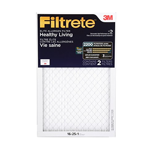 Filtrete MPR 2200 16 x 25 x 1 Healthy Living Elite Allergen Reduction HVAC Air Filter, Delivers Cleaner Air Throughout Your Home, 2-Pack