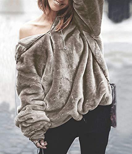 Sweat Capuche Pullover Mode Pulls Tops Sweats Fourrure Jumpers Hauts Chandail Femmes Clair Hiver Blouse Chaud Manches Hoodie et Shirts Automne Longues Fausse Marron ZqaP8aS