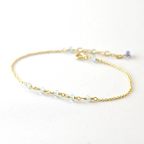 - Aquamarine bracelet in Gold or Silver, March Birthday Gift, Delicate gold bracelet, Blue Aquamarine gold bracelet, Gemstone Bar Bracelet, March Birthstone Jewelry