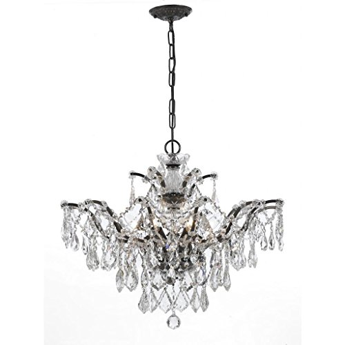 Crystorama 4459-VZ-CL-MWP Crystal Six Light Chandelier from Filmore collection in Bronze/Darkfinish,