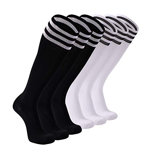 Soccer Socks, FOOTPLUS Cushion Arch Support Breathable Compression Team Hockey Football Cycling Knee High School Uniforms Socks, 6 Pairs Black+White Stripe&White+Black Stripe, (High School Football Teams)