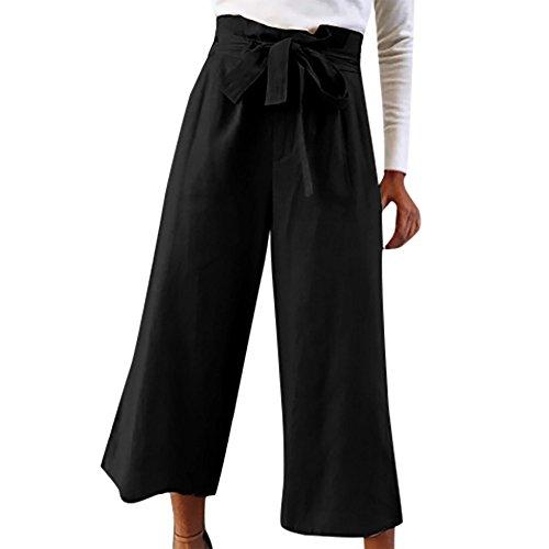 Smocked Straight Pantaloni larga a alta Harem alta Spiaggia pantaloni donna Donna da a Pantaloni da vita lunghi Donna gamba YanHoo da Nero donna Pants Boho a vita Waist Cravatta zpUqpnExwr
