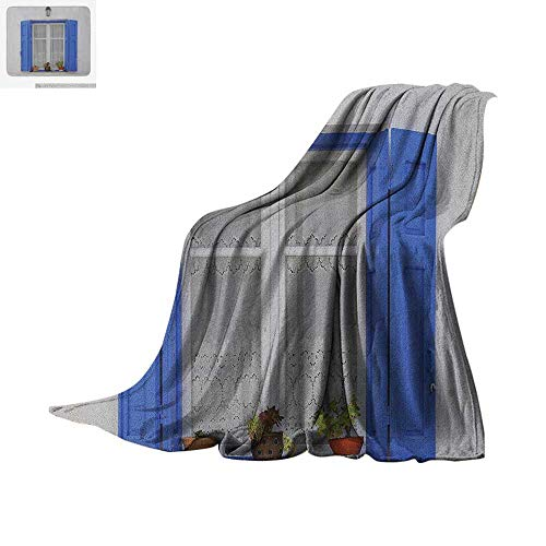 Country Warm Microfiber All Season Blanket Typical Greek Style Wooden Window Shutters with Flowers Mediterranean Life Summer Quilt Comforter 90