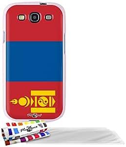 """Carcasa Flexible Ultra-Slim SAMSUNG GALAXY S3 / I9300 de exclusivo motivo [Mongolia Bandera] [Rosa] de MUZZANO  + 3 Pelliculas de Pantalla """"UltraClear"""" + ESTILETE y PAÑO MUZZANO REGALADOS - La Protección Antigolpes ULTIMA, ELEGANTE Y DURADERA para su SAMSUNG GALAXY S3 / I9300"""