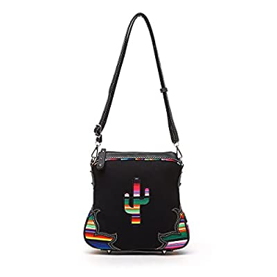 Western Handbag - Multi-Colored Serape Fabric Textured Stitched Cactus Concealed Carry Crossbody Bag