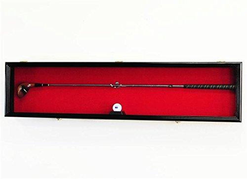 1 Golf Club Ball Putter Driver Iron Display Case Cabinet Rack w/98% UV (Black Finish, Green Background)