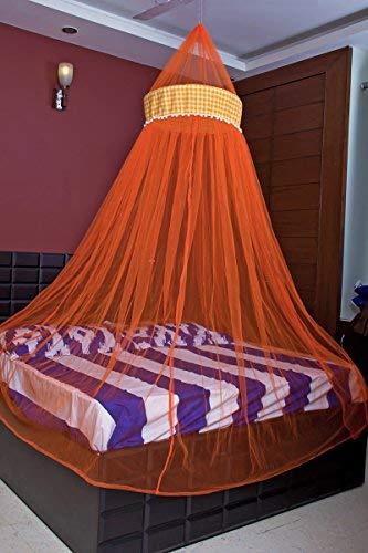Creative Textiles Fabric Double Bed Mosquito Net, Orange
