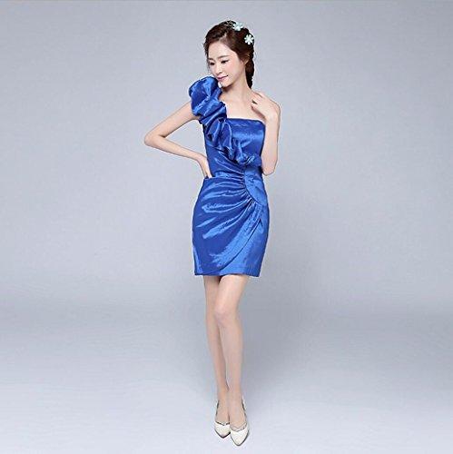WBXAZL Korean Flower, Inclinados Hombros, Corto de Dama de Honor Vestido, Banquete, Fiesta Noche Vestido de Mujer. Foto color