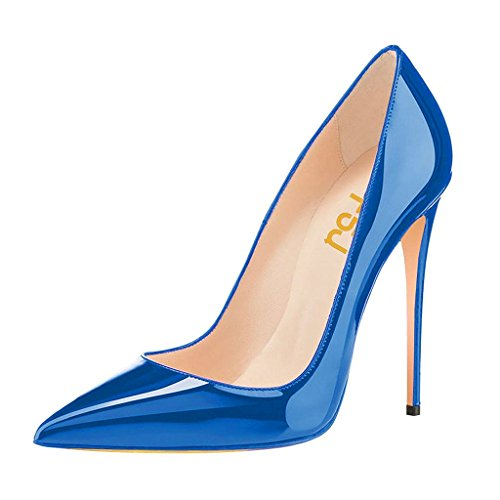 ning High Heels Shoes Pointed Toe Slip On 10 cm Pumps For Comfort Size 8.5 Blue (Blue Patent Pointed Toe Heels)