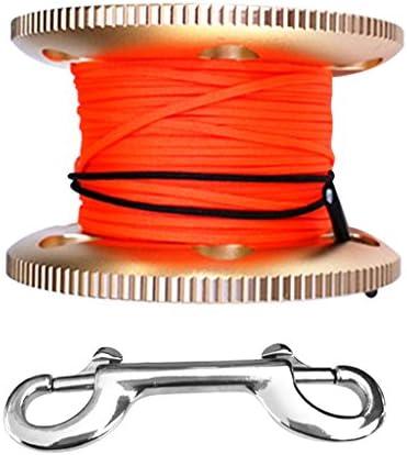 Perfk スキューバ ダイビング アルミニウム合金 フィンガーリール ガイド ラインスプール 50mライン ボルトスナップ