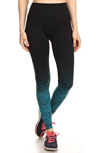 Women's Activewear Ombre Teal Printed Yoga Pants
