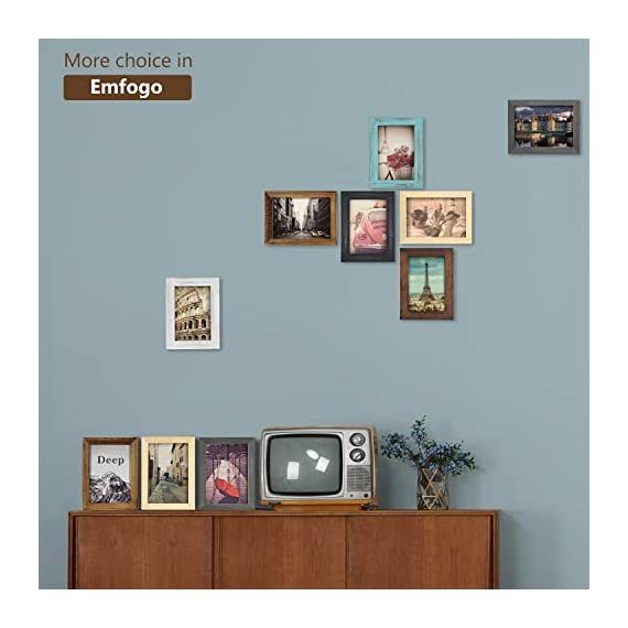 Emfogo 4x6 Picture Frames Photo Display for Tabletop or Wall Mount Solid Wood High Definition Glass Photo Frame Pack of 2 Vintage Walnut - EXQUISITE FRAME: Made of solid Paulownia wood, finished with the burnished black accents,high definition glass and smooth boarding at the back, the exquisite picture frame has been carefully designed by the designer to protect and decorate your beautiful pictures SIZE: Fits 4x6 inch photos! Photo frame's outer dimension is 6.96'' L x 4.92'' W x 0.78'' H EASY MOUNTING: Comes with easy opening tabs at the back for easy access for loading photos. The frame can be put for table top display vertically or horizontally, and hung on the wall by wall hanger at back, screw in the package - picture-frames, bedroom-decor, bedroom - 417bR LmbSL. SS570  -