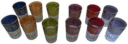 12 Piece Set of Colored Artisan Moroccan Tea Glasses Cup Shot Wine Tumbler