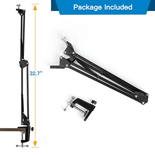 """Webcam Stand - 14 Inch Suspension Scissor Durable Bracket with Aluminum Desk Clamp Mount - Built-in 1/4"""" Screw for Logitech Webcam C930e,C930,C920, C922x,C922, Brio 4K, C925e,C615 by Pipishell"""