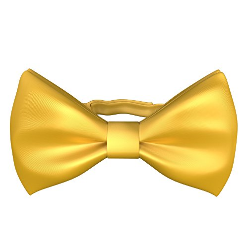 Yellow Gold Bow Tie - Fly & Dapper Pre-Tied Tuxedo Bow Tie - Classic Formal Bow Tie for Men - Premium Tux Bowtie - Universal Size, Adjustable Length for Extreme Comfort - Yellow Bow Tie