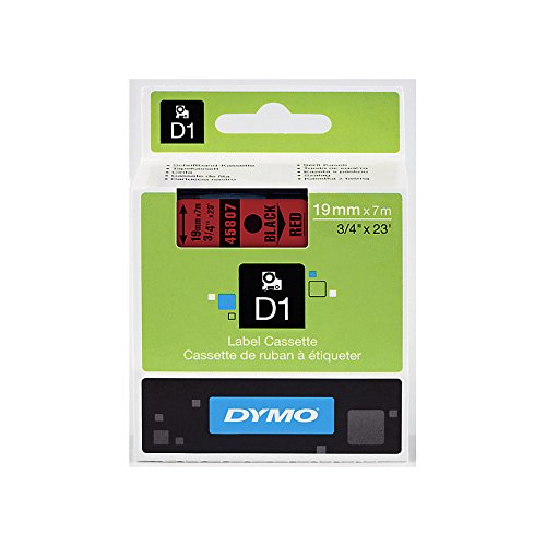 DYMO Standard D1 Self-Adhesive Polyester Tape for Label Makers, 3/4-inch, Black Print On Red, 23-foot Cartridge (45807)