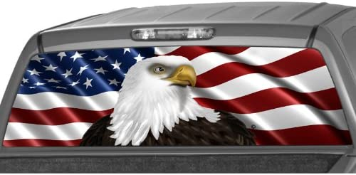 American Flag Eagle Rear Window Wrap Graphic Tint print Decal Sticker For Truck