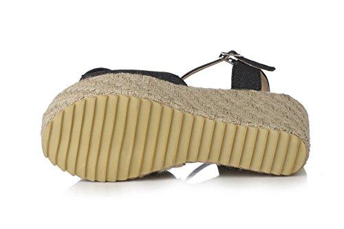 Allhqfashion Solid Dames Pu Gesp Hoge Hakken Open Teen Sandalen Zwart