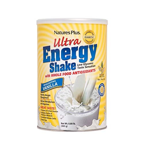 Natures Plus Ultra Energy Shake - Natures Plus Ultra Energy Shake - .8 lbs, Vanilla Flavor - Plant-Based Protein Powder, Promotes Healthy Weight Mangement - Vegetarian, Gluten Free - 11 Servings