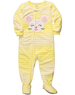 Carters Infant & Toddler Girls Plush Yellow Mouse Sleeper Sleep Play Pajamas